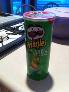 Spies only eat chips in a can. Brand of choice: Pringles.