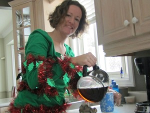 Pouring coffee in my Ugly Christmas Sweater