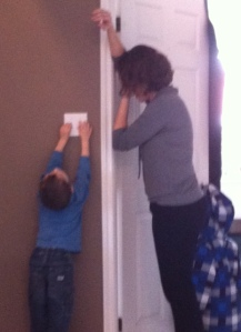 He would't stop playing with the light switch.